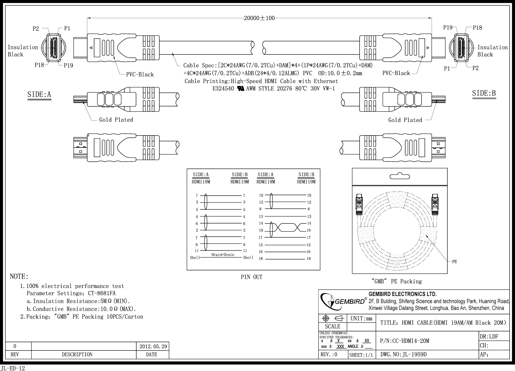 Awm Hdmi Wire Diagram Free Download Wiring Diagrams High Speed Male Cable 20 M Bulk Package Cc Hdmi4 20m 24 At Schematic