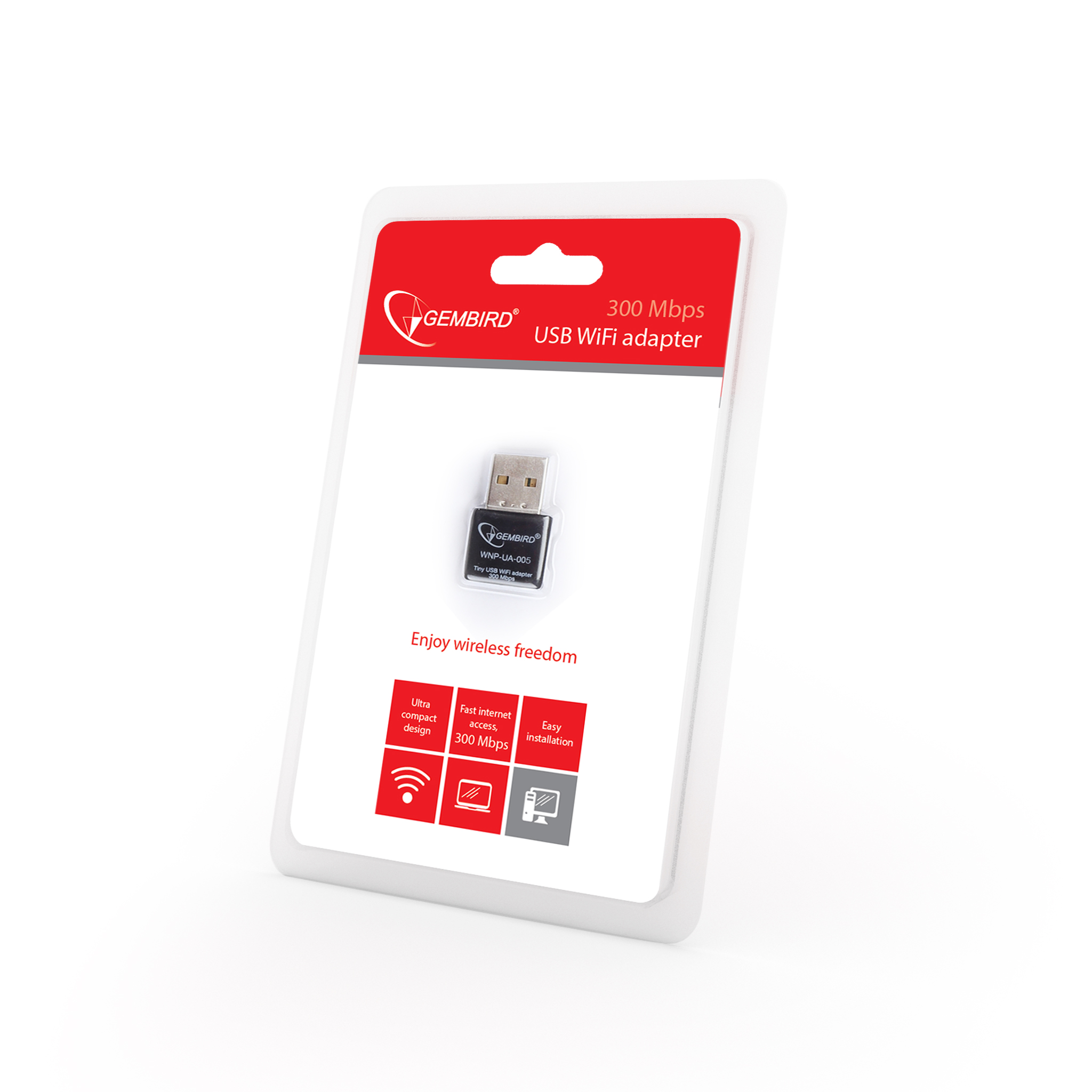Mini USB WiFi adapter, 300 Mbps (WNP-UA-005)